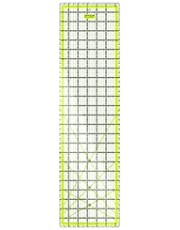 """ARTEZA Quilting Ruler, Laser Cut Acrylic Quilters' Ruler with Patented Double Coloured Grid Lines for Easy Precision Cutting, 6.5"""" Wide x 24"""" Long for Quilting, Sewing & Crafts, Black & Lime Green"""