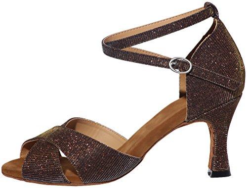 Vimedea Femmes Professionnel Confort Chaussures De Danse Latine Tango Cha-cha Swing Salle De Bal Partie De Mariage Pratique Sudue Semelle 3in Cheville Sangles Peep Toe Glitter Pu Brun