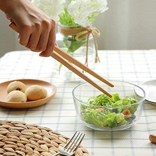 Oyfel Pince à Toast en Bambou Pinces à Aliments Pince Cuisine en Bois Barbecue BBQ Pince à Grille-Pain Écologiques 2 pièces