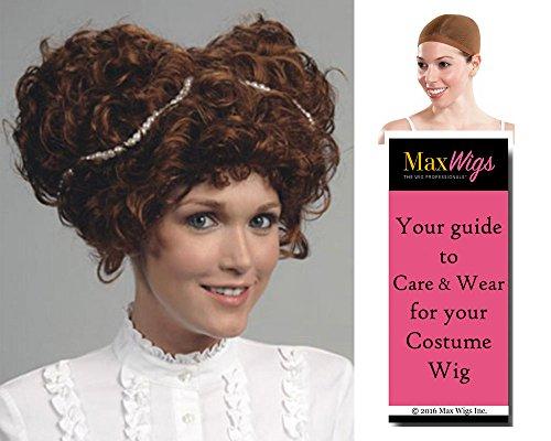 Queen Elizabeth I Tudor Color Auburn - Enigma Wigs Women's English Monarch British Royalty Renassiance Bundle with Wig Cap, MaxWigs Costume Wig Care Guide - Tudor Wigs