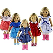 ZWSISU 5-sets Stylish Doll Party Dress Clothes Outfits Pajames For 18 inch American's Girl,My life doll,Our Generation and Journey Girls Dolls