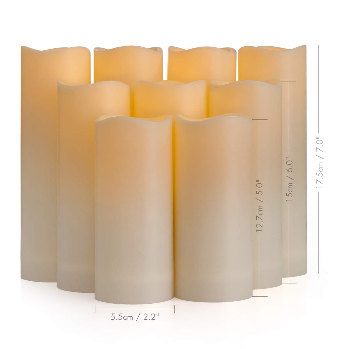 Flameless Candles, Waterproof Outdoor Candles set of 9 ( D 2.2'' X H 5''5''6''6''6''7''7''7''7'' ) LED Candles Battery Operated Candles with Remote Timer, Ivory White by Enido (Image #7)