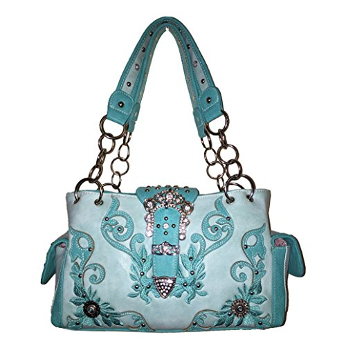 2015 New Style Rhinestone Buckle Concho Concealed Carry Embroidered Leather Shoulder Handbag Purse and Matching Messenger Bag, Wallet in Turquoise (CC Turquoise Handbag) - New Western Rhinestone Concho