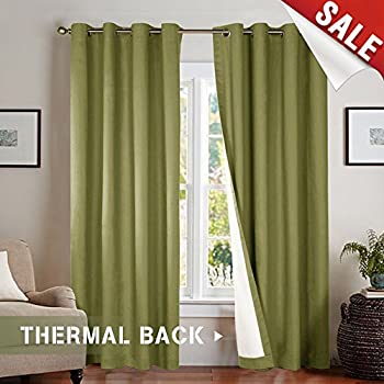 Jinchan Room Darkening Lined Blackout Curtains 84 Inches Long Thermal Insulated Living Window Drapes