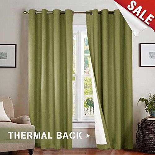 Room Darkening Blackout Curtains for Sliding Glass Door, Light Blocking Thermal Lined Curtains for Bedroom / Living Room Window Curtain 95 Inches Long, Olive Green, Grommet Top, 1 Panel