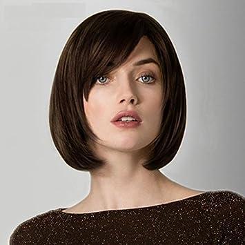 Amazon.com   100% Real Hair! Short BOB Wig Natural Dark brown Human Hair  Wigs   Beauty 8cb3c0baa711