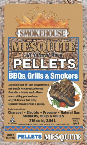 Smokehouse Products 9775-020-0000 5-Pound Bag All Natural Mesquite Flavored Wood Pellets, (Mesquite Chips)