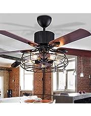 LED plafondventilator met verlichting hanglamp woonkamer slaapkamer plafondlamp afstandsbediening loft ventilator kroonluchter retro eetkamer elektrische ventilator stille afstandsbediening ventilator lamp zwart