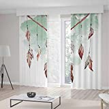 Blackout Curtains,Feather,Living Room Bedroom Décor,Watercolor Vibrant Dream Catcher with Ornamental Elements Traditional Design Decorative,157Wx106L Inches