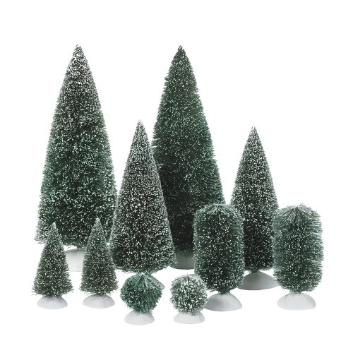department 56 accessories for villages bag o frosted topiaries tree - Christmas Village Decorations