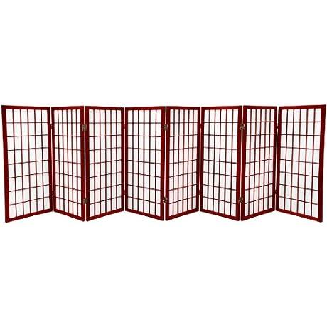 Oriental Furniture 3 Ft Tall Window Pane Shoji Screen Rosewood 8 Panels