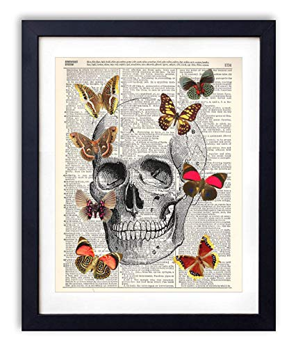 Human Skull With Butterflies Illustration Upcycled Vintage Dictionary Art Print 8x10