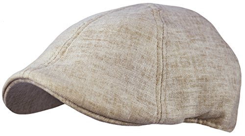 Men's Linen Blend Cotton newsboy Cap, Cool duckbill Pub Hat, Golf IVY Cap (Natural, ()