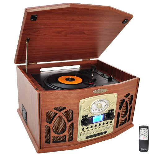 Pyle Vintage Turntable - Retro Vinyl Stereo System With Bluetooth, Cassette and CD Player, USB Reader, SD Card and Speakers - Audio Files to MP3 with Remote and LCD (PTCDS7UIW) (Player Cd Sd Usb)