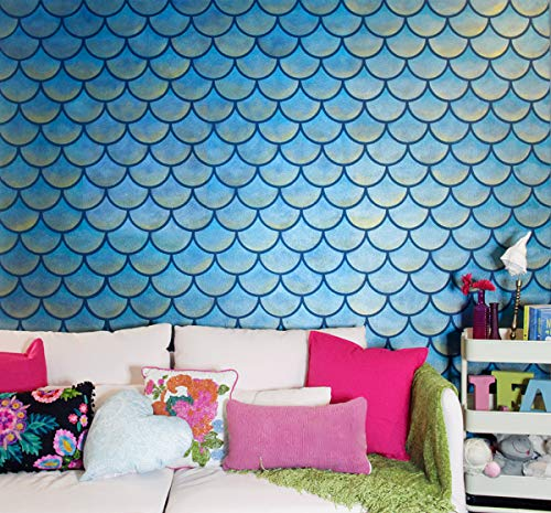 (Royal Design Studio Stencils Large Moroccan Scallops Wall Stencil with Modern Fish Scales Wallpaper Look )