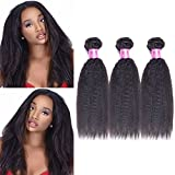 Top Hair Brazilian Straight Hair 3 Bundle Yaki Human Hair Extensions Can Be Dyed Color – Natural Black, (22″24″26″) For Sale