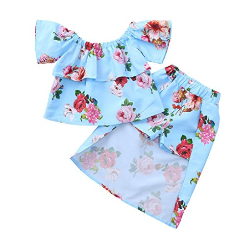 Toddler Baby Girls Summer Clothes Kids Floral Print Off The Shoulder Tops+Shorts+Skirt Outfits Two Piece Set 1-5T (Blue, 12-24 Months) from Moonker