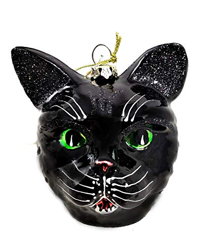 Katherine's Collection Spooky Black Cat Glass Ornament Halloween Decor ()