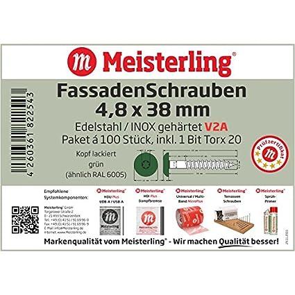 Meisterling/® FassadenSchrauben 4,8 x 38 mm mit Flachkopf V2a Edelstahl