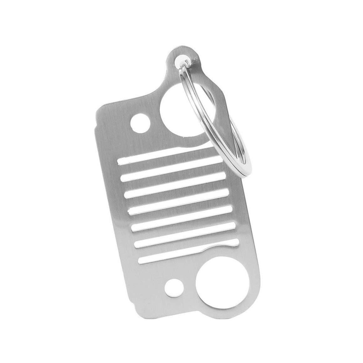 Funnyrunstore Portable en Acier Inoxydable Unique Design Jeep Grill Porte-cl/és Keychain Porte-cl/és CJ JK TJ YJ XJ Argent Couleur: Argent