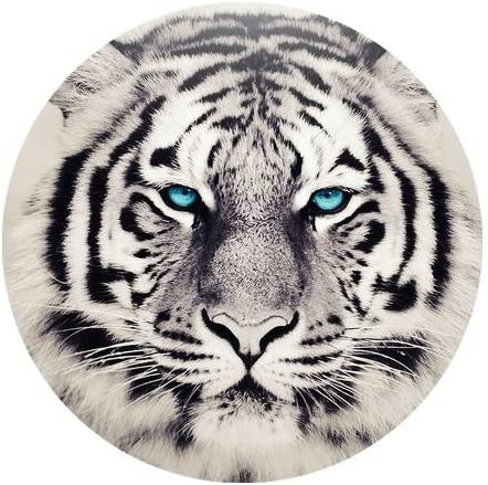 Fashion Designed White Tiger With Blue Eyes Pattern Durable Cloth Cover Round Mousepad Mouse Mat 7.87 x7.87 inch