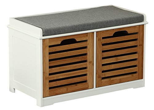Orolay Storage Bench with 2 Drawers & Seat Cushion Shoe Cabinet ZHXD24 Natural