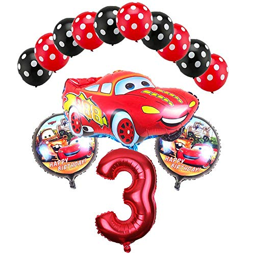 CuteTrees Cars Lightning McQueen 3rd Birthday Balloons star balloon racing car balloon birthday decoration holiday decoration 14 -