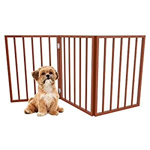 PETMAKER Foldable, Free-Standing Wooden Pet Gate- Light Weight, Indoor Barrier for Small Dogs/Cats by Light Brown, 24… Click on image for further info.