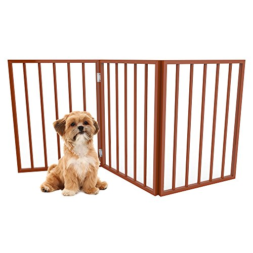 Wood Free Standing Gate (PETMAKER Foldable, Free-Standing Wooden Pet Gate- Light Weight, Indoor Barrier for Small Dogs/Cats by Light Brown, 24 Inch Step Over Doorway Fence)