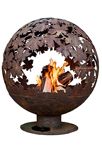 Esschert Design FF1014 Leaf Fire Sphere, Rust Metal Finish - X Large - Extra large Firepit globe that has been laser cut from 3mm thick Steel Blowing leaf sculpted design Two-piece design, with the base and globe separating for easy cleanup and transport - patio, fire-pits-outdoor-fireplaces, outdoor-decor - 51S5SdOolyL -
