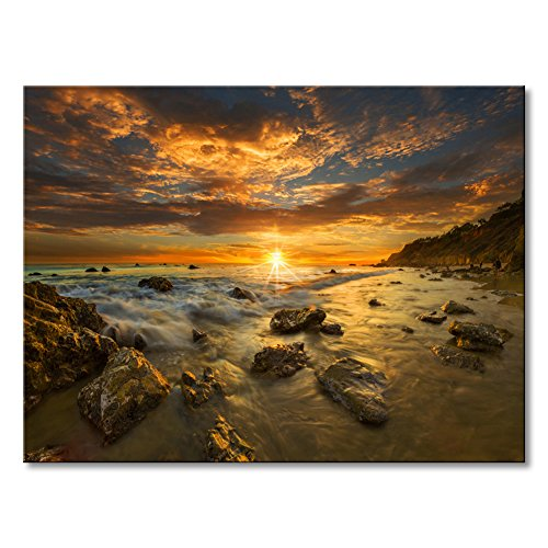 Wall Art Canvas Print Sunset Modern Beach Seascape Painting Large Contemporary Wave Ocean Stone Decor Artwork for Home Office Decorations Unframed 36