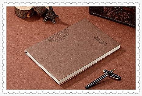 Amazon.com: Cuaderno diario, agenda de papel grueso de piel ...