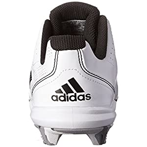 adidas Performance Wheel House 2 K Baseball/Softball Shoe (Little Kid/Big Kid), White/Black/Metallic/Silver, 5 M US Big Kid