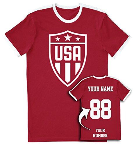 USA Red Soccer Jersey T Shirts - Custom Unisex Jerseys & Personalized Team Uniforms ()