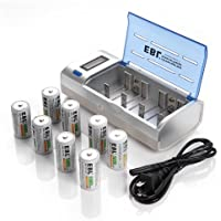 EBL LCD Rapid C/D/9V/AA/AAA Universal Battery Charger with 8 Pack Rechargeable C Batteries