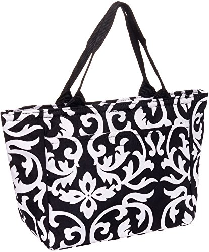 SilverHooks Womens Damask Insulated Lunch Tote Bag (Black & White)