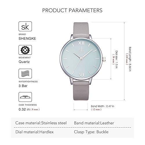SK Women Watches Leather Band Luxury Quartz Watches Girls Ladies Wristwatch Relogio Feminino (Grey) by SK (Image #4)