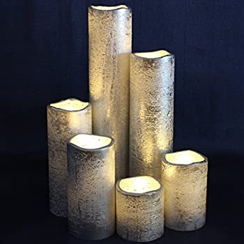"""LED Lytes TIMER FLAMELESS CANDLES, SLIM Set of 6, 2"""" WIDE and 2""""- 9"""" TALL, Rustic Silver Coated Wax and Flickering Warm White Flame for Weddings and Parties"""