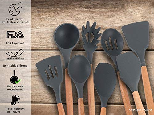 Ofargo Silicone Kitchen Utensil Set of 8 Pieces with Natural Wood Handle for Cooking, Non-Stick, Gray