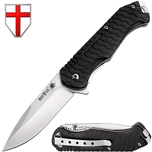 Grand Way Folding Tactical Knife - Spring Assisted Pocket Knives - Stainless Steel Blade with Black G-10 Handle Metal Clip - Best Urban Tourist Knife for Travel Hiking Survival 6788 P-C