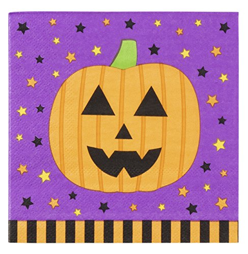 Cocktail Napkins - 100-Pack Luncheon Napkins, Disposable Paper Napkins Halloween Party Supplies, 3-Ply, Pumpkin Design, Unfolded 10 x 10 Inches, Folded 5 x 5 Inches