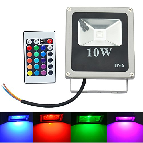 Lightinthebox 10W LED Floodlight 1 High Power LED 800 lm RGB Remote-Controlled AC 85-265 V IP66 CE, RoHS Certified Stage Light