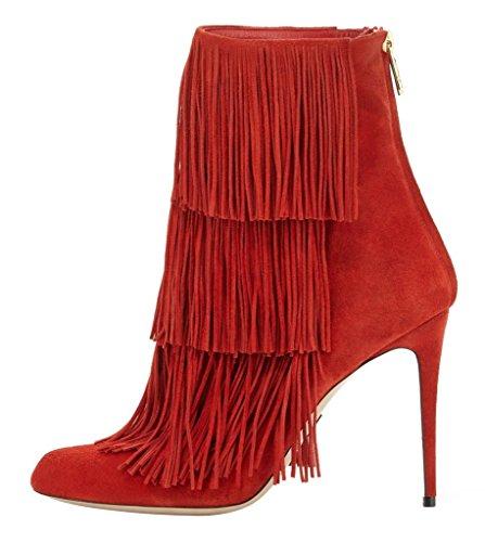 Onlymaker Women's Fashion High Heel Boots Fringe Decorati...