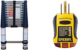 Xtend & Climb Pro Series 785P+ Telescoping Ladder, Blue & Sperry Instruments GFI6302 GFCI Outlet / Receptacle Tester, Standard 120V AC Outlets, 7 Visual Indication / Wiring Legend, Yellow & Black