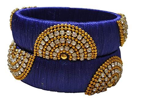 GOELX Festive Offer: Designer Handcrafted Ethnic Half Moon Silk Thread Bangles for Women in Royal Blue - 2.8