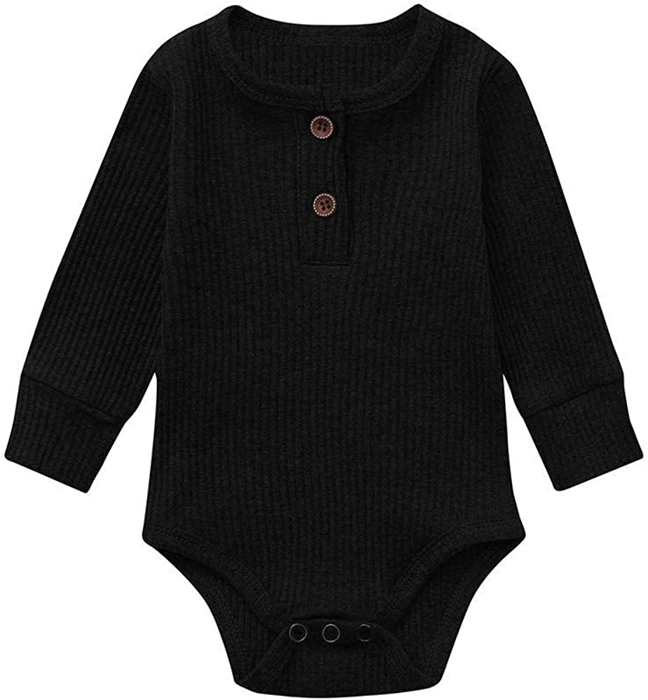 MAOMAHREWW Infant Baby Girls Boys Romper Solid Color Long Sleeve Triangle Bodysuit Color : Black, Size : 90