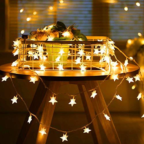 Adoric 5 m 50 LED lichtketting sterren huis decoratie warm wit