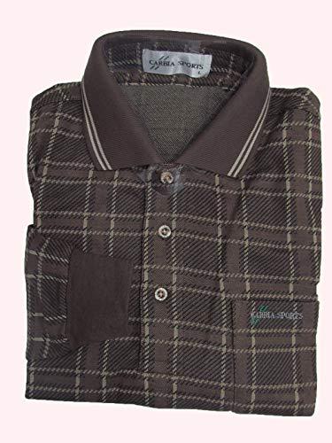 ポロシャツ 長袖 ウール混 (CARBIA SPORTS) Lサイズ ブラウンチェック柄-004-2 ゴルフ