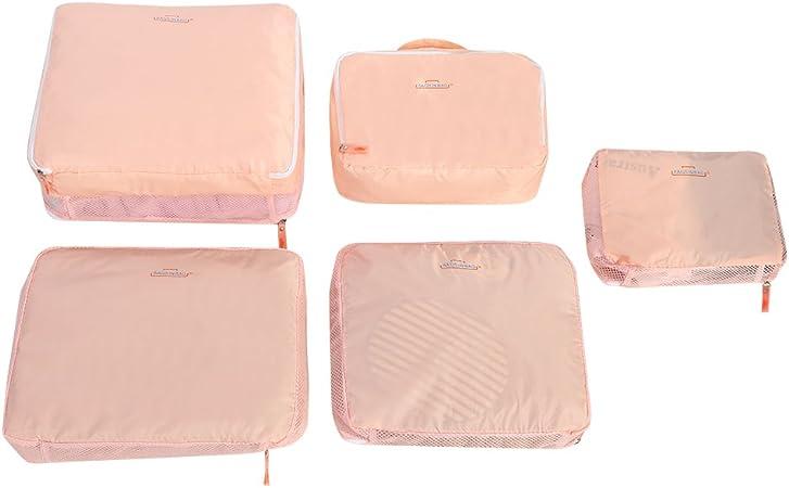 Fdit 5Pcs Organisateur de Bagage de Sac Voyage Emballage Cubes Rangement pour V/êtement sous-V/êtement Chaussures Cosm/étique Pochettes demballage Cubes Multifonctions Tri des Paquets Rose
