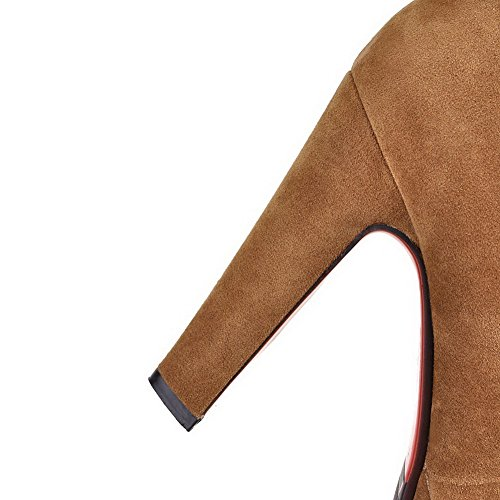 Flock Round Zipper High Women's Toe Solid WeenFashion Yellow Heels Boots Closed 6wqPx7nO